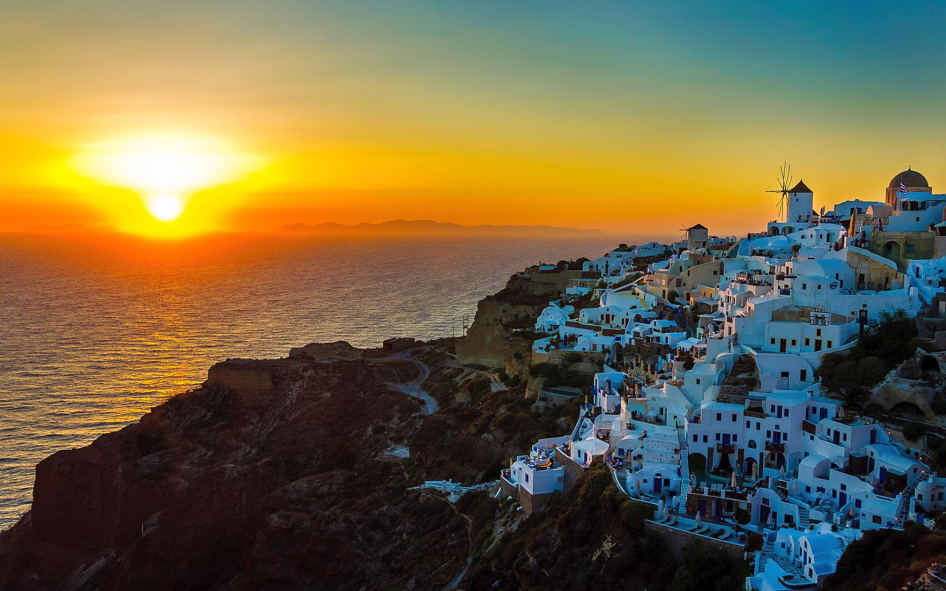 Canh hoang hon tai Santorini Hy Lap
