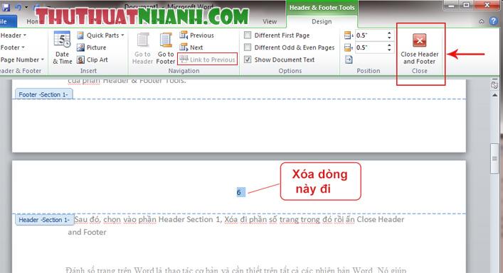 Huong dan xoa bo section 1 trong danh so trang trong word