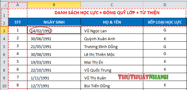 Cach co dinh dong va cot trong bang Excel