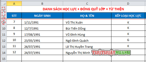 Cach co dinh hang cho bang Excel