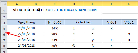 An hang cot trong Excel
