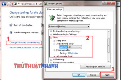 bat che do sleep va hibernate trong windows 7