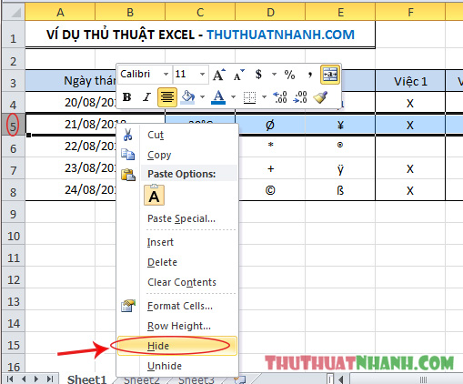 cach an hang va cot trong Excel