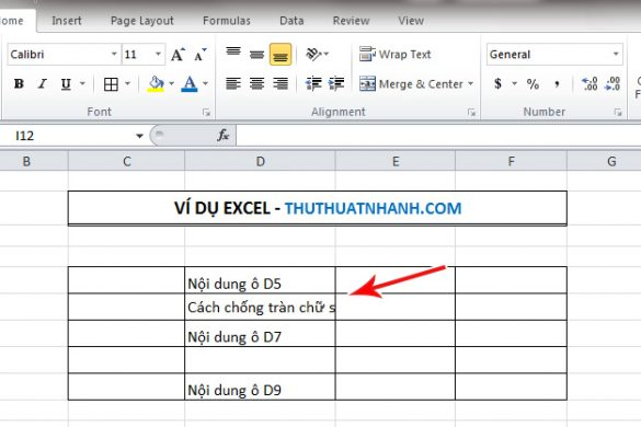 Cach chong tran noi dung sang cac o khac trong Excel