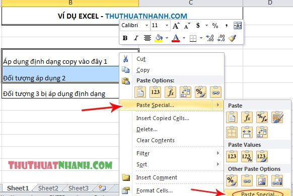 cach dung paste special trong excel