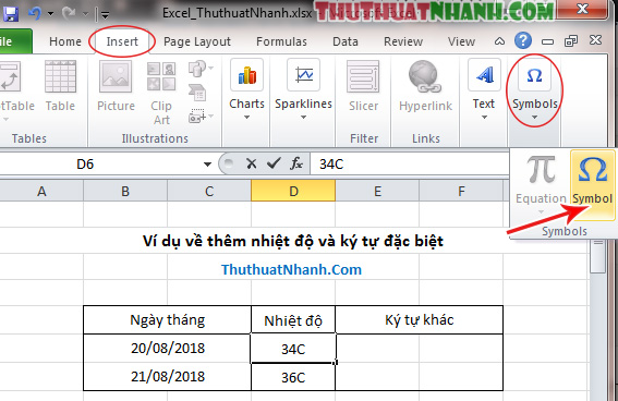 Cach viet nhiet doc trong Excel