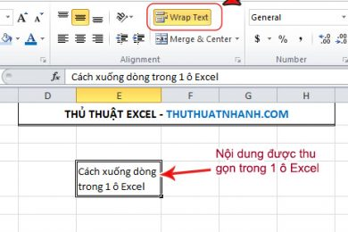 Cach xuong dong tu dong trong 1 o excel