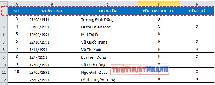 Huong dan cach co dinh dong va cot trong excel