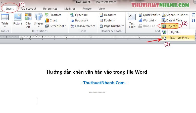 huong dan chen tep van ban khac vao file word