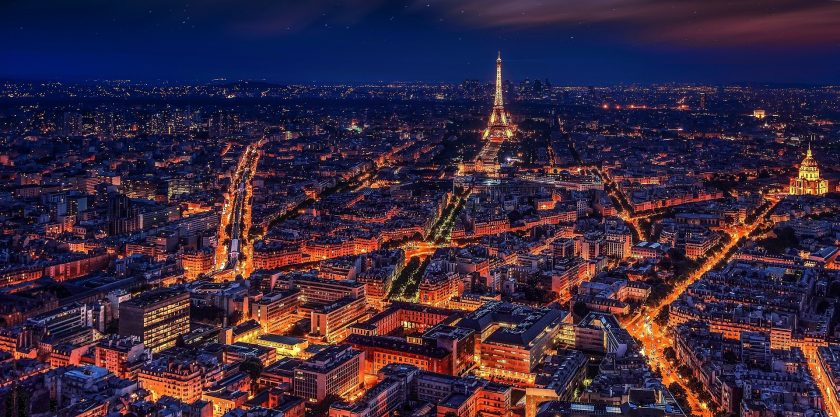 hinh nen thu do Paris nuoc Phap ruc ro ve dem