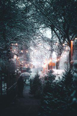 hình ảnh phố tuyết ban đêm
