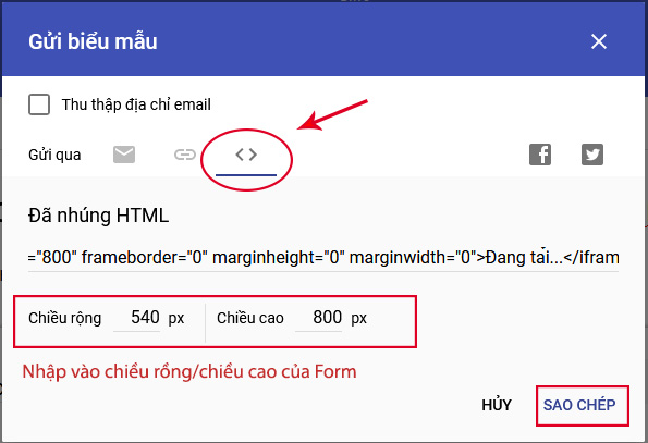 cach lay ma nhung google form