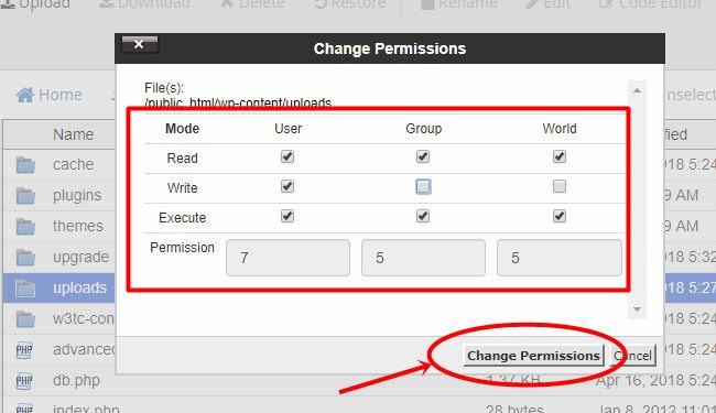thay doi change permissions thu muc uploads thanh 755