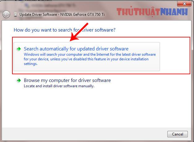 chon tim kiem ban update driver voi windows