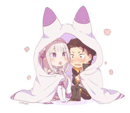hinh anime chibi cap doi nguong ngung ben nhau