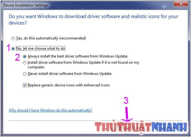 update driver thong qua windows update
