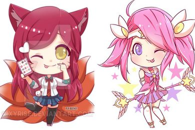 anh chibi lol yasuo lux ahri