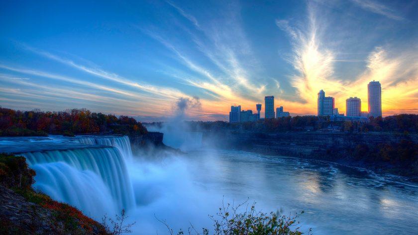 hinh nen 4k thac Niagara vao mot buoi sang tai Canada