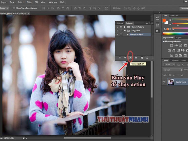 huong dan dung action trong photoshop