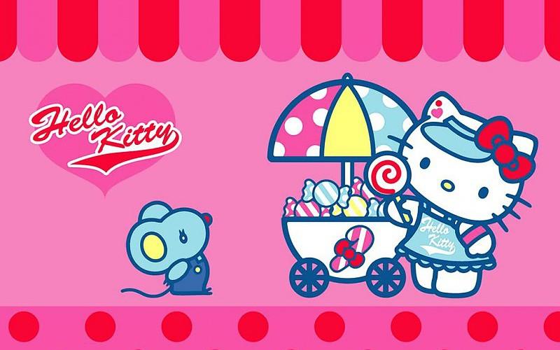 Ảnh mèo Hello Kitty bán kẹo ngọt