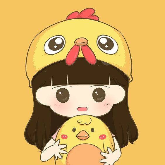 avatar đôi cute - bạn nữ ngạc nhiên