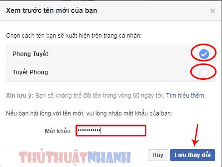 chon cach ten ban se xuat hien tren trang ca nhan facebook may tinh