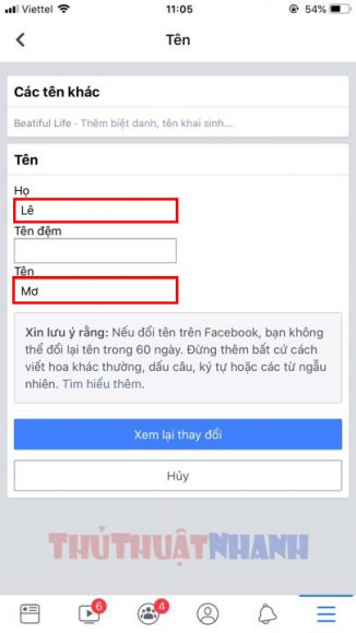 giao dien dien thong tin ho ten cu tren facebook