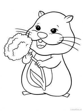 hình ảnh chuột hamster cầm bông hoa cho bé tập tô