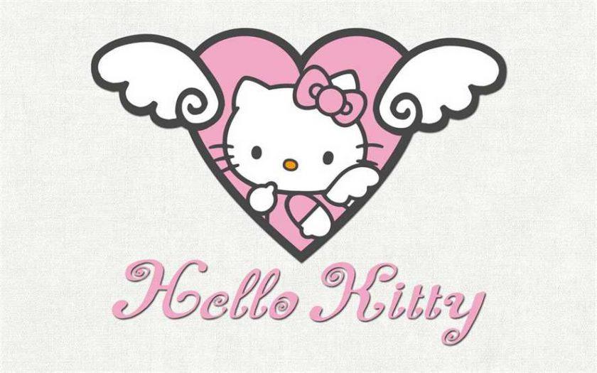 Hình ảnh mèo Kitty và trái tim với đôi cánh thiên thần.