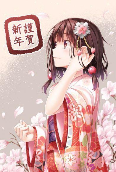hình anime tết cô gái xinh đẹp đi chơi xuân