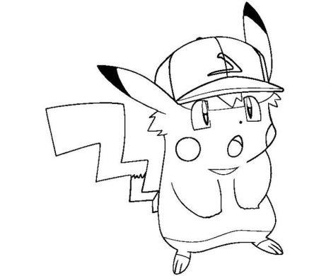 Hình tập tô Pikachu đội mũ thi đấu bóng chày.