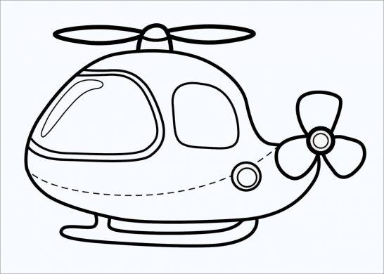 hình tô màu máy bay trực thăng cực kỳ cute.