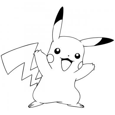 hinh ve den trang Pikachu