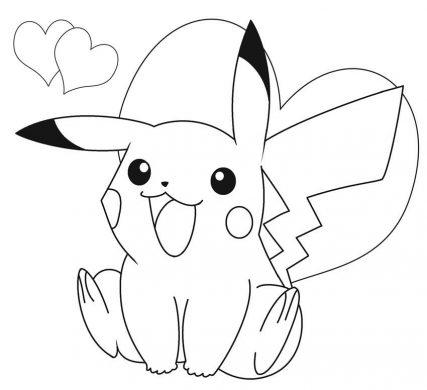 hinh ve to mau Pikachu de thuong