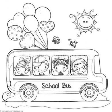 hinh xe bus cho be to mau