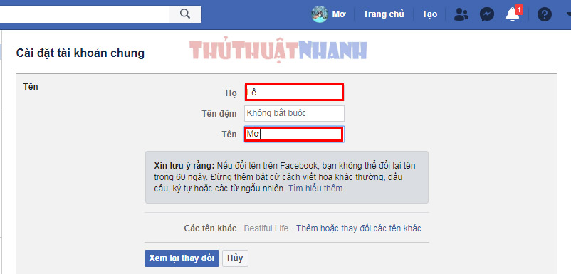 thay doi ho ten facebook may tinh