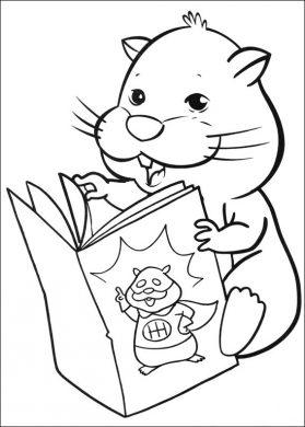 tranh đen trắng chuột hamster đang đọc sách