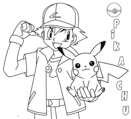 tranh to mau Pikachu va Satoshi
