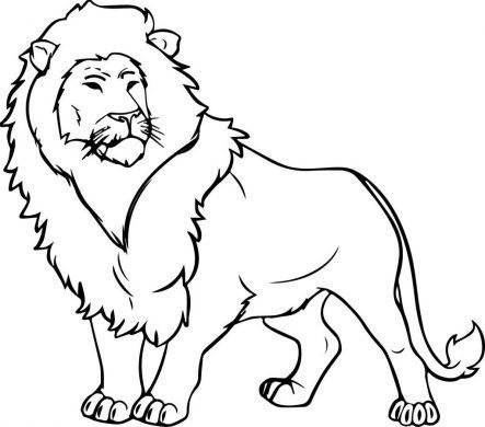 Tranh tô màu con sư tử dũng mạnh, oai vệ.