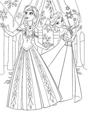 tranh to mau cong chua Elsa vs Anna
