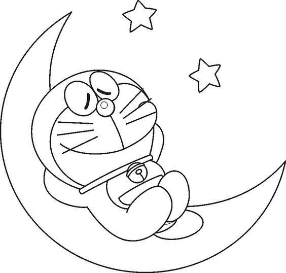 Tranh vẽ doremon đang ngủ trên mặt trăng