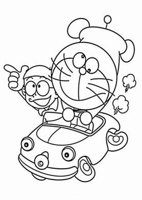 Tranh tô màu Doremon và Nobita đi xe ô tô