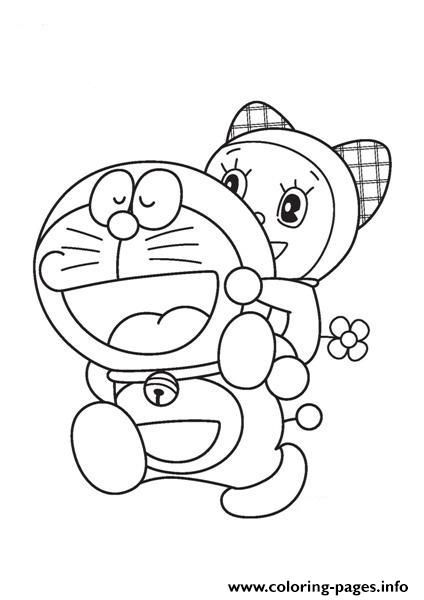 tranh tô màu Doremon cõng em gái Doremi