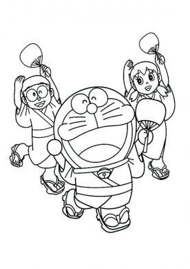 Doremon và những người bạn mặc trang phục kimono nhật bản