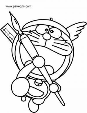 tranh tô màu doremon làm chiến binh thiên thần