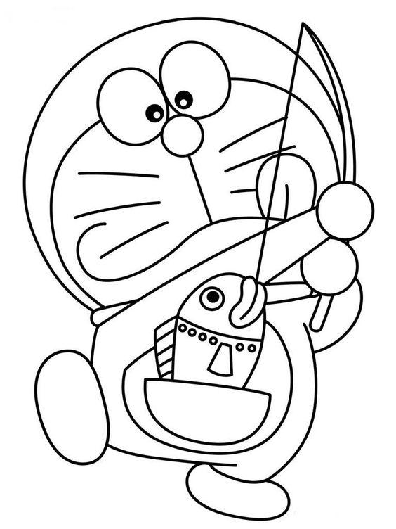tranh tô màu doremon câu cá bằng túi thần kỳ