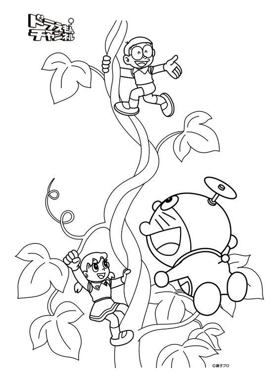 tranh doremon và các bạn leo lên cây thần