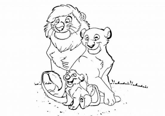 Tranh tô màu hình gia đình nhà sư tử.