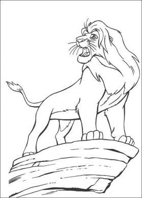 tranh vẽ tô màu sư tử trên mỏm núi