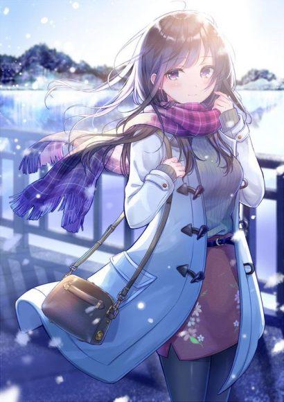 anh anime girl de thuong trong mua dong lanh gia